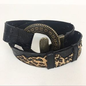 Chico's Belt Leopard Leather Embossed Black Brown